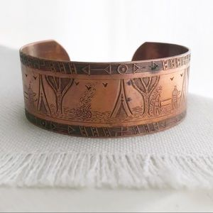 VINTAGE Native Storyteller Teepee Copper Cuff